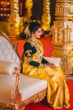 South Indian Brides - Yellow Silk Saree and Kanjeevaram Blouse | WedMeGood | Beautiful Bride in a Coin Full Sleeve Velvet Blouse and Yellow Silk Saree, Satlada Haar and Gold Choker #wedmegood #indianbride #indianwedding #bridal #saree