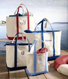 Large L Bean Zip Navy Tote With Monogram Best Beach Bag Boat Bags