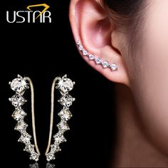 Dipper Zircon crystals Stud Earrings for women fashion jewelry earrings female Brincos silver plated Ear Hook top quality ** Find similar products by clicking the image