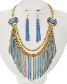 Gold Tone / Lt. Blue Acrylic / Lead&nickel Compliant / Metal / Fish Hook (earrings) / Necklace & Earring Set