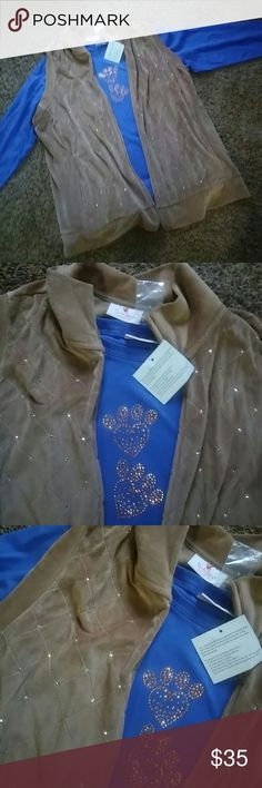 Quaker factory top and vest size 1x new Beautifully done with rhinestones Quacker Factory Tops Sweatshirts & Hoodies