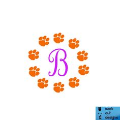 Initial Clemson Paw Circle Vinyl decal by WorkOutDesigns on Etsy, $16.00 Silhouette Curio, Silhouette Cameo Projects, Silhouette Design, Clemson Tiger Paw, Clemson Football, Vinyl Crafts, Vinyl Projects, Cricut Monogram, Monogram Design