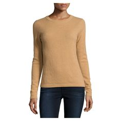 Neiman Marcus Cashmere Basic Pullover Sweater, Camel ($115) ❤ liked on Polyvore featuring tops, sweaters, beige sweater, cashmere crew neck sweater, crew neck sweaters, crew neck pullover sweater and crewneck sweaters