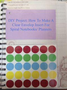 A simple way to make your spiral notebook or planner more functional: Making clear storage pockets to hold your index cards or stickers in a fun an easy way! Nana DIY http://missladynana9.blogspot.com/