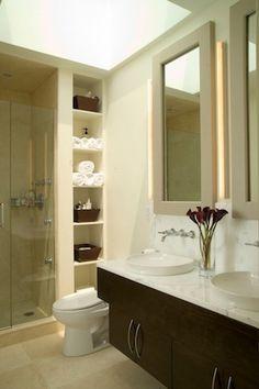 very pretty light small bathroom
