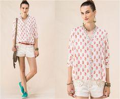 Camisa em viscose com mix de estampa Paisley na superfície e mini floral na gola de acabamento. O modelo é ideal para trazer feminilidade a calça jeans. [#cantão #ColchaDeRetalhos #verão2016 #donacarolinaboutique #donacarolinacampobom]