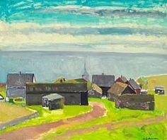 - Samuel Joensen-Mikines: View over Mikines village, the Faroe Islands. Signed S. Oil on canvas. 85 x 100 cm. Faroe Islands, Storyboard, Denmark, Oil On Canvas, Artists, Fine Art, School, Painting, Beautiful