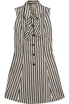 McQ Alexander McQueen - Pussy-bow Striped Satin-twill Mini Dress - White - IT36