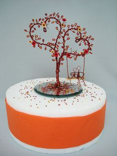 Blossom Double Heart Wire Art Tree  Wedding Decoration Cake