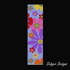 Blooming 2 Beaded Peyote Bracelet Cuff by FUNPATTERNDESIGNS