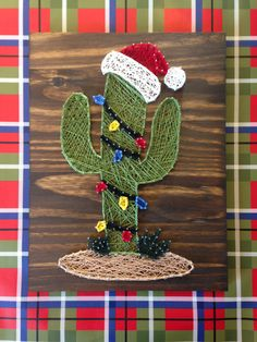 Christmas cactus string art  Etsy shop https://www.etsy.com/listing/490084761/christmas-cactus-with-lights-and-santa