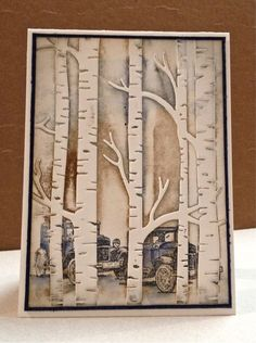 Unique card by Ann with a helpful photo tutorial. Guy Greetings and Woodland embossing folder from Stampin' Up!