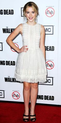 Look of the Day › October 5, 2012  WHAT SHE WORE Shipka feted the season premiere of The Walking Dead in a lacy Red Valentino LWD and suede Rupert Sanderson peep-toes.