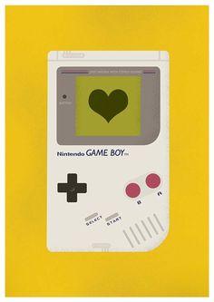 Nintendo art print poster Retro art Nursery print Gameboy - I love to play