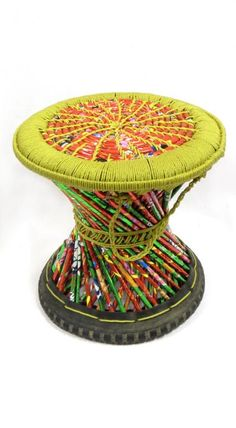 Muda, Stool made in Nepal from salvaged materials - Yakmandu Nepal, Stool Covers, Bamboo, Recycling, Stools, Cities, Plastic, Chair, Street