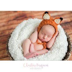 Crocheted newborn fox beanie