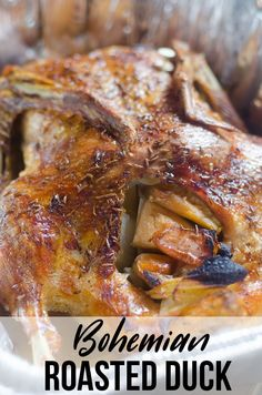 Pečená Kachna, also known as bohemian roasted duck is the ultimate comfort food. We pair the bohemian roasted duck with bread dumplings also known as Knedlicky. Baked Duck Recipes, Wild Duck Recipes, Roast Chicken Recipes, Pork Recipes, Seafood Recipes, Crockpot Recipes, Cooking Recipes, Game Recipes, Recipes