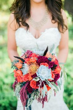 Fresh New Blue Wedding Bouquets We Adore - Rachael Osborn Photography via Every Last Detail