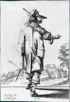 Abraham Bosse d'après Jean de Saint-Igny (v. 1597-1647)  Le Jardin de la noblesse française, 1629: Gentilhomme vu de dos