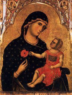 """""""Madonna of the Poppy"""" -- Circa 1325 -- Paolo Veneziano -- Italian -- Tempera on panel -- San Pantalon, Venice"""