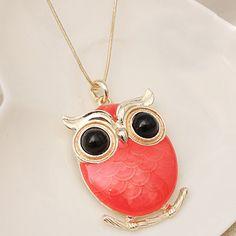 Red Owls Pendant Ladies Necklace Wholesale  Item Code:#LGF116+Red    US$8.50