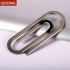 Qoongステンレス鋼銀スリムポケットマネークリップ財布現金idクレジットカードマネーホルダー金属鋼法案クリップクランプQZ40-001