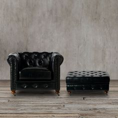 With classic lines and a gorgeous tufted back, this tufted black leather chair and ottoman set, offers a cozy, elegant look. Finished with decorative nailhead trim that adds the perfect finishing touch, the classic style of this tufted chair fits any home style.