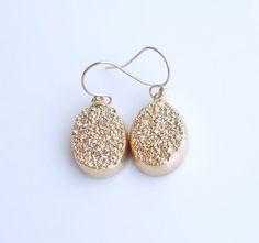 Gold Druzy Earrings - OOAK Jewelry https://www.etsy.com/listing/170947537/gold-druzy-earrings-ooak-jewelry?ref=shop_home_active_1 #drusy #druzyearrings #gold #bling #earrings #jewelry #shopping #love