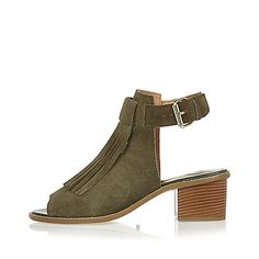 Khaki Suede Fringed Boots, River Island, £38.00