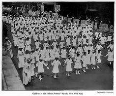 First Massive African American Protest in American History - July 28, 1917 - Children in New York City Participating in the Silent Protest Parade against the East St. Louis Riots.  The riots in East St. Louis began when whites, angry because African Americans were employed by a factory holding government contracts, went on a rampage. Over $400,000 worth of property was destroyed. At least 40 African Americans were killed. Men, women and children were beaten, stabbed, hanged and burned.
