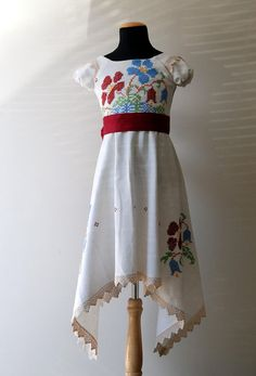 Antique Vintage Linen hand-embroidered Tablecloth Upcycled Flower-Girl Dress, Size 6, OOAK Cranberry Sash