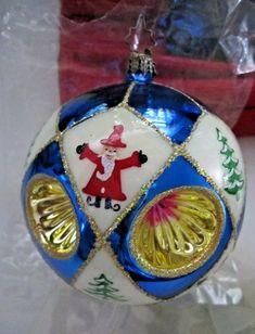 "Christopher Radko Celestial Ornament Stand Glass Blue Glittery Stars 9/"" Tall"