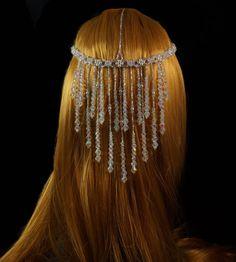 Celestial crystal silver beaded bridal от originalbeading на Etsy