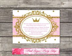 Book Instead of a Card Inserts, Royal Princess Baby Shower Pink, Gold, Glitter, Crown / Printable Digital / INSTANT DOWNLOAD
