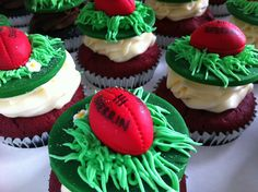 AFL Grand Final Day Cupcakes with Red Sherrin Footballs Amongst the Grass • by Baking Gorgeous   www.bakinggorgeous.com Football Cakes, Girl Football, Themed Cakes, Cupcake Recipes, Recipe Ideas, Grass, Basketball, Parties, Cupcakes