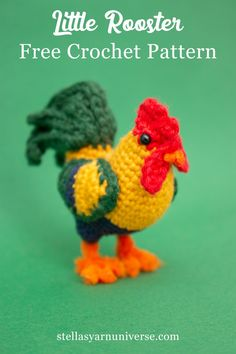 Amigurumi Rooster - Free Crochet Pattern - Stella's Yarn Universe - - This free crochet pattern for my amigurumi rooster is a great little project for improving beginners as well as seasoned crocheters! Crochet Bird Patterns, Crochet Birds, Crochet Amigurumi Free Patterns, Cute Crochet, Crochet Dolls, Crochet Animals, Knit Crochet, Crotchet, Crochet Dinosaur Pattern Free