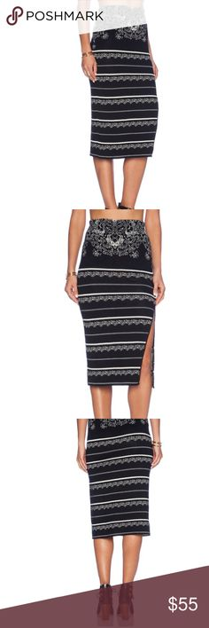 NWT! Free People pencil skirt! Pencil skirt by Free People! Extremely soft fabric, about 30 inches in length! Elasticized waist, front slit. Brand new with tags, never worn! 47% rayon,28% nylon,24% cotton, 1% spandex. Free People Skirts