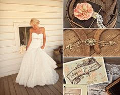 Vintage, rustic feel. I love this rustic, vintage, lace, wildflowers and country are the themes of my wedding lol