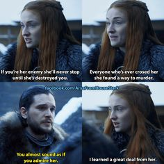 Sansa opposing Jon, admiring Cersei, rocking some Cersei inspired hair, wearing a Mockingbird-like Littlefinger necklace has me concerned... Game of Thrones. ASOIAF