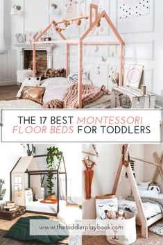 Investing in a Montessori floor bed is a great way to give your toddler more freedom and help them develop independence and self-help skills. Here are some of the best floor bed options for every style and budget! Toddler Floor Bed, Toddler House Bed, House Beds For Kids, Diy Toddler Bed, Floor Beds For Toddlers, Unique Toddler Beds, Toddler Beds For Boys, Montessori Toddler Bedroom, Floor Bed Frame