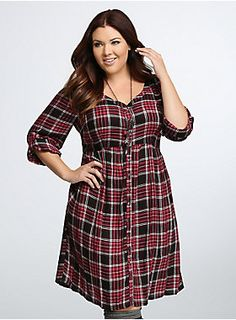 Fall without plaid? We can't even (and neither should you). Jersey-like red and black plaid challis makes this shirt dress impossible to take off. 3/4 tab sleeves, a button down front, and an empire waist that flatters beyond belief? Get at us, fall.