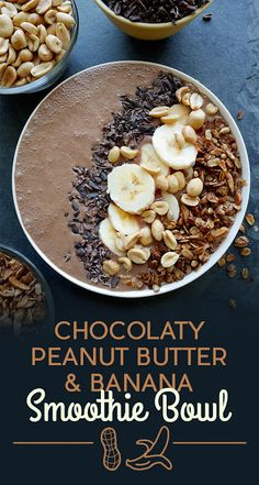 Breakfast Smoothie Bowls That Will Make You Feel Amazing Chocolaty Peanut Butter and Banana Smoothie Bowl, Delicious Recipe!Chocolaty Peanut Butter and Banana Smoothie Bowl, Delicious Recipe! Breakfast Desayunos, Breakfast Smoothies, Fruit Smoothies, Healthy Smoothies, Healthy Snacks, Breakfast Recipes, Healthy Recipes, Breakfast Ideas, Smoothie Bowls Vegan