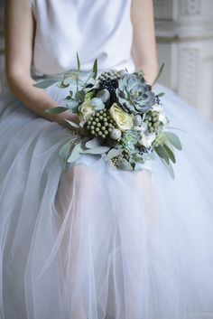Wedding bouquet inspiration in blue grey and silver at Schloss Laudon Vienna Austria by Barbara Wenz Photography Bridal Bouquet Blue, Wedding Bouquets, Wedding Dresses, Blue Silver Weddings, Wedding Cakes With Flowers, Cake Flowers, Wedding Hair Pieces, One Shoulder Wedding Dress, Wedding Hairstyles