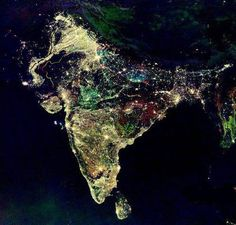 This is a satellite photo of India during the sacred festival of lights: Diwali, literally meaning lighting rows of lamps, being celebrated now.    This festival is the symbolic celebration of the victory of light over darkness, love over hate and knowledge over ignorance.