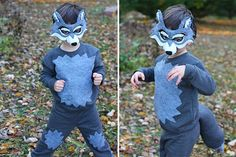 12 DIY Masks for Kids This Halloween - Kinderkostüme Selber Machen Boys Wolf Costume, Big Bad Wolf Costume, Wolf Halloween Costume, Amazing Halloween Costumes, Family Halloween Costumes, Halloween Masks, Diy Costumes, Halloween Kids, Grease Costumes