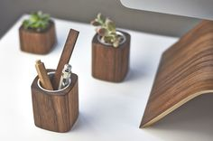 Paper Clip Holder: Solid Walnut Wood Dish & Change Catch-all