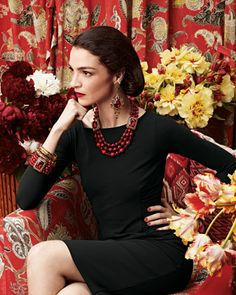 Mariacarla Boscono in Jose & Maria Barrera Earrings, Necklace, Bangles, & Bracelet - Neiman Marcus