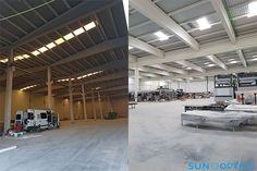 Comparativa de naves industriales sin y con sistemas Lledó Sunoptics. Consigue máximo aprovechamiento de la luz solar y óptima difusión. #Energía