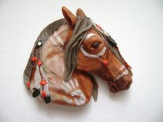 Handmade polymer clay native indian's painted horse    For more, visit: https://www.facebook.com/TessaWorkshop