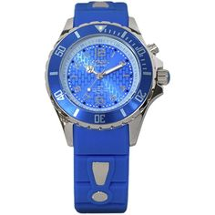 KYBOE! Power Blue Silicone & Stainless Steel Strap Watch/40mm ($200) ❤ liked on Polyvore featuring women's fashion, jewelry, watches, apparel & accessories, gitane blue, blue wrist watch, bezel watches, polish jewelry, blue jewelry and blue watches